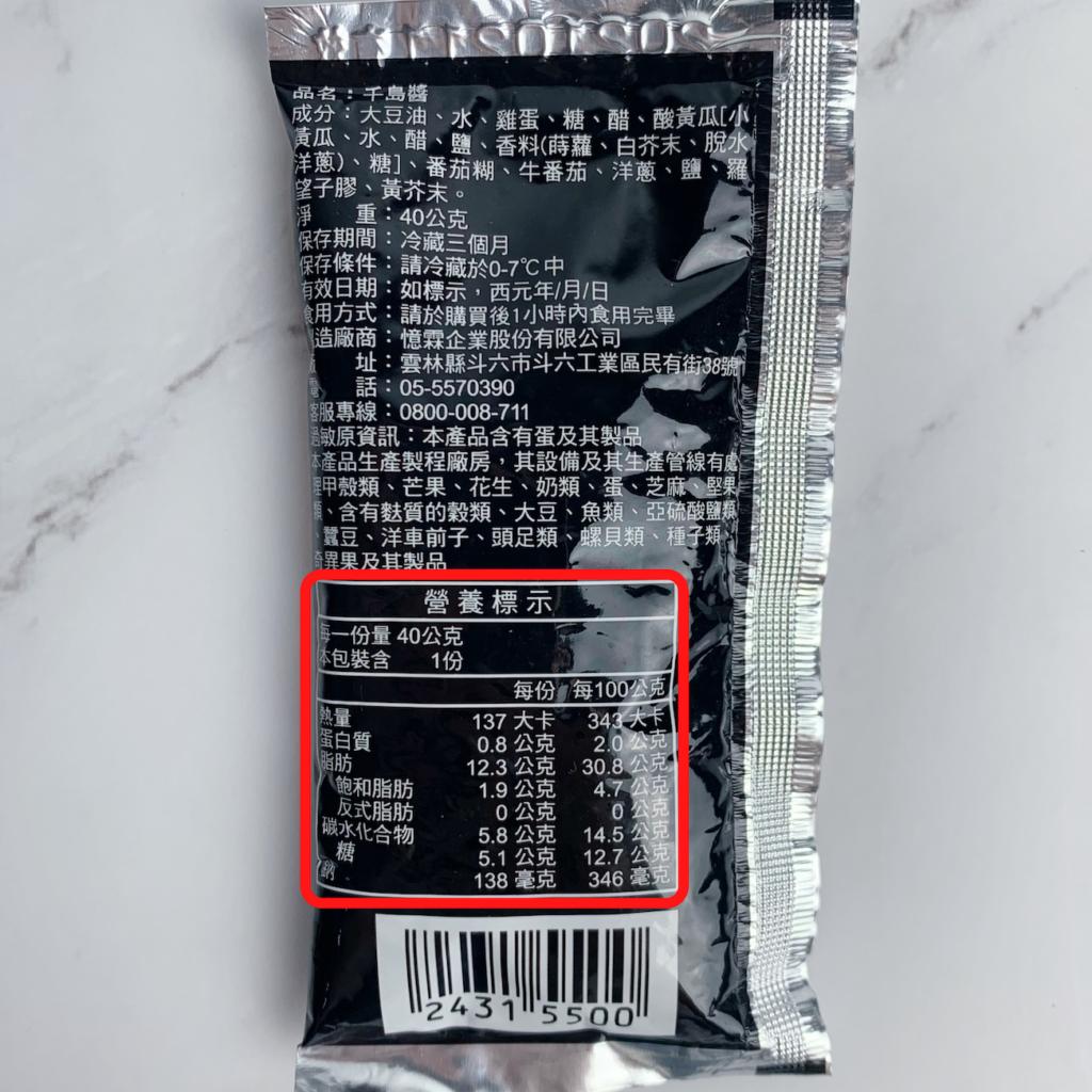 7-11千島醬營養示意圖